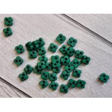 """МиниПуговицы матовые 6 мм  """"Цветочки"""", цвет: зелёный, 5 шт."""
