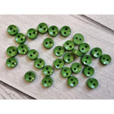 """МиниПуговицы глянцевые 6 мм  """"Круглые"""", цвет: зелёный, 5 шт."""